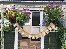 Happy Birthday Personalised Jute Burlap Hessian Rustic Vintage Banner Bunting