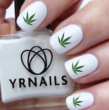 Nail Art Water Decals - Green Cannabis Marijuana Weed Leaf  - S991