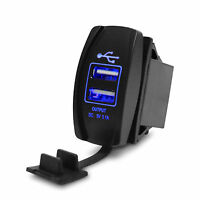 Dual USB Car Charger Rocker Switch for Landcruiser fit Pardo for Nissan Navara