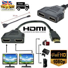 1080P HDMI Male To Dual HDMI Female 1 to 2 Way Splitter Cable Adapter Converter