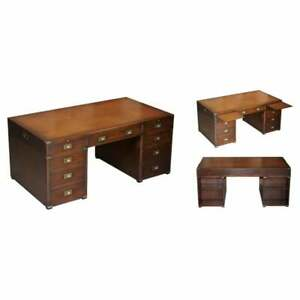 HARRODS KENNEDY DOUBLE SIDED BROWN LEATHER MILITARY CAMPAIGN TWIN PEDESTAL DESK