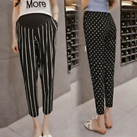 Maternity Women Mom High Waist Pants Long Trousers Pregnancy Stripe Dot Leggings