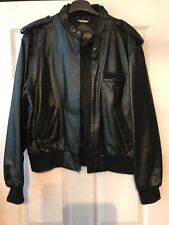BLACK LEATHER VINTAGE MEMBERS ONLY  JACKET - SIZE 44