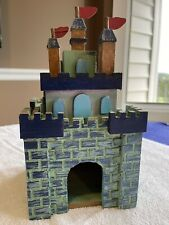"""Castle Birdhouse Wood Hand Painted Blue and Green, Indoor 5-3/8""""X5-3/8""""X1 0"""" Tall"""