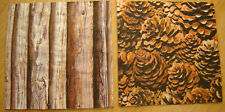 paper napkins tree bark, fir cones,woods, fall, serviette,33cm-2pcs,decoupage