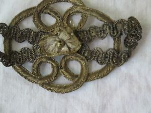 "Vintage Antique Gold Metallic Ribbonwork Never Used Applique~3""L X 1 3/4""W"