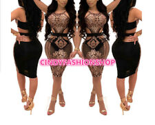 Sexy Women Halter Neck Sequined Bodycon  Sleeveless See Through Night Club Dress