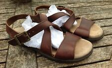 WOMEN'S TIMBERLAND BROWN LEATHER FLAT SANDALS Size 8M US/ 5.5 UK