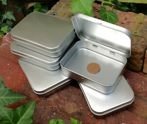 Rectangle Metal Tin with Hinged Lid 150ml *Crafts Storage Sweets Stickers *NEW