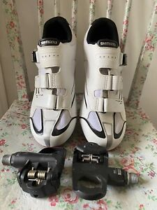 Shimano SH-R088W cycling Shoes Road SPD EU 44 UK 9 / 9.5 With Clipless Pedals