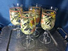 Hand Painted Wine Water Goblet Glasses Set of 4 bulb stem daffodil design  EUC