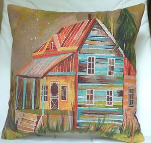 """New Modern print Linen look fabric padded cushion 17"""" X 17"""" cottage house"""
