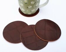 REAL LEATHER TABLE COASTERS *SET OF 4* 90MM DIAM CUP MUG GLASS TABLE PLACE MATS}