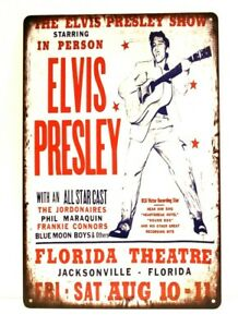 Elvis Presley Tin Metal Sign Man Cave Poster Vintage Concert Advertising Style