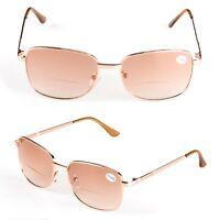 Bifocal Reading Glasses Clear Brown Lens Gold Frame Reader Eyeglass +1.0 ~ +4.0