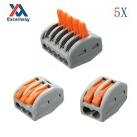 ET25 2/3/5 Pins Spring Terminal Block 5Pcs Electric Cable Wire Connector