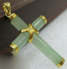 Natural Light Green Jade Yellow Gold Plated Cross Pendant with Necklace