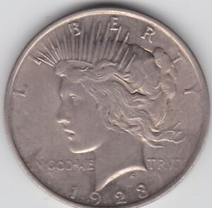 Genuine Silver USA Liberty / Peace One Dollar Coin 1923 - Nice Condition  t10