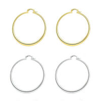 Womens White Gold Plated Classic 55MM 2.2Inch Large Endless Thin Hoop Earrings