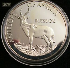 MALAWI, 10 KWACHA 2003, BLESBOK, SILVER PLATED, ENCAPSULATED, PROOF.