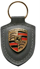 New Genuine Porsche Grey Coloured Crested Leather Keyring Key Ring 911 997 991