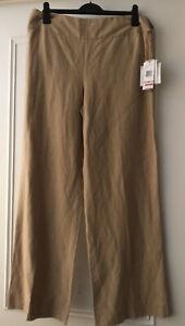 Jones New York Trousers Linen Silk Blend Wide Leg Flat Front  Zip UK 16 Tall 33""