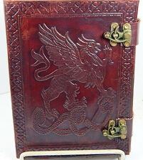 Handmade Paper 6x8 Embossed Leather Journal Celtic Griffin 2 latch Sketchbook