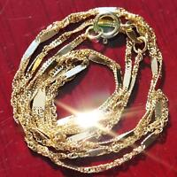 """10k yellow gold necklace 18.0"""" fancy Singapore link chain vintage 0.9gr"""