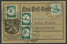 Germany 1912, First flight w/3 30pf + 5pf cxl Darmstadt
