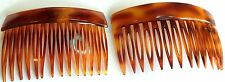 Vintage  2 TORTOISE SHELL CELLULOID  HAIR COMBS Sign Made In France Rare