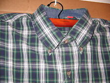IZOD Shirt Dress Long Sleeve Plaid Green BRAND NEW Large Cotton Casual FREE SHIP