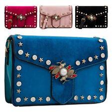 Ladies Fx Suede Star Studded Shoulder Bag Cross Body Bag Insect Handbag KT2252