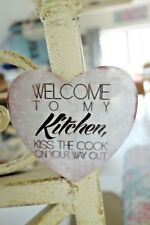Shabby Kühlschrank Magnet Blech Herz Welcome To My Kittchen Retro Stil 8 cm NEU