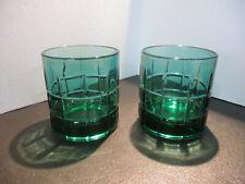 Retro Tartan Green by Anchor Hocking pair (2) Old Fashion Glasses - HTF