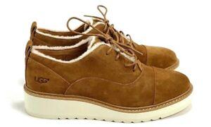 UGG Women's Johanna Spill Seam Oxford Suede Chestnut Shoes 1095230