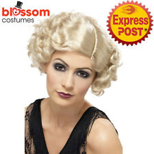 W542 1920s 20s 30s Flapper Wavy Blonde Costume Wig Hair Gatsby Cabaret Burlesque