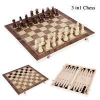 Jeu d'échecs en bois pliable 3 en 1 Jeu société Dames backgammon Drafts Toys LB