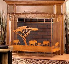 "WILD SAVANNAH RUSTIC BRONZE FIREPLACE SCREEN *Elephants & Tree 50"" x32""* NIB"
