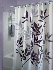 InterDesign  72 in. H x 72 in. W White Black and Gray  Leaves  Shower Curtain