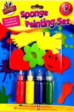 10 Kids Sponge Painting Set Assorted Colours Paint School Creative Art Craft Fun