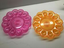 Fun Colorful Hard Plastic Deviled Egg Serving Dish Plate Set of 2