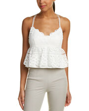 Tahari ASL Ivory Haziel Blouse *Beautiful Lace Peplum Waist Top, Women Sz M *New