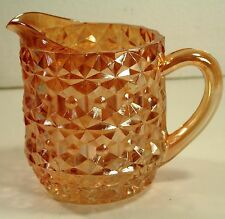 "Holiday Buttons and Bows Pink Iridescent 4 3/4"" Milk Pitcher Jeannette Glass Co."