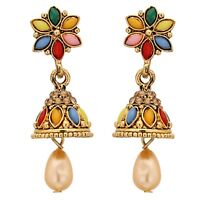 Indian Earrings Bollywood Fashion Gold Plated Multi Stone Pearl Jhumka Jhumki