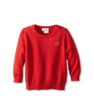 Lacoste Kids Solid Crew Neck Sweater (Toddler/Little Kids/Big Kids) (Paprika Red
