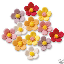 MULTICOLOURED ICED SUGAR FLOWER CAKE DECORATIONS - YELLOW PINK RED WHITE PURPLE