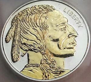 BUFFALO NICKEL DESIGN .999 SILVER ROUND ICG PR GENUINE GOLD GILDED