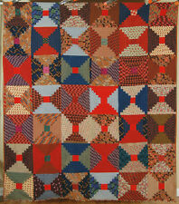 ELEGANT Vintage 1870's Wool Challis Courthouse Log Cabin Antique Quilt ~AMAZING!