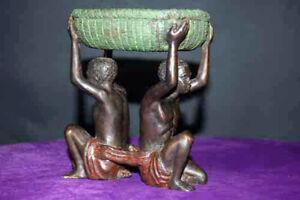 Blackamoor Real Bronze Rare British Empire Colonialism 2 Slave Basket Free Ship