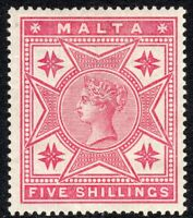 Malta 1886 Rose 5/- mint crown CC perf14 SG30